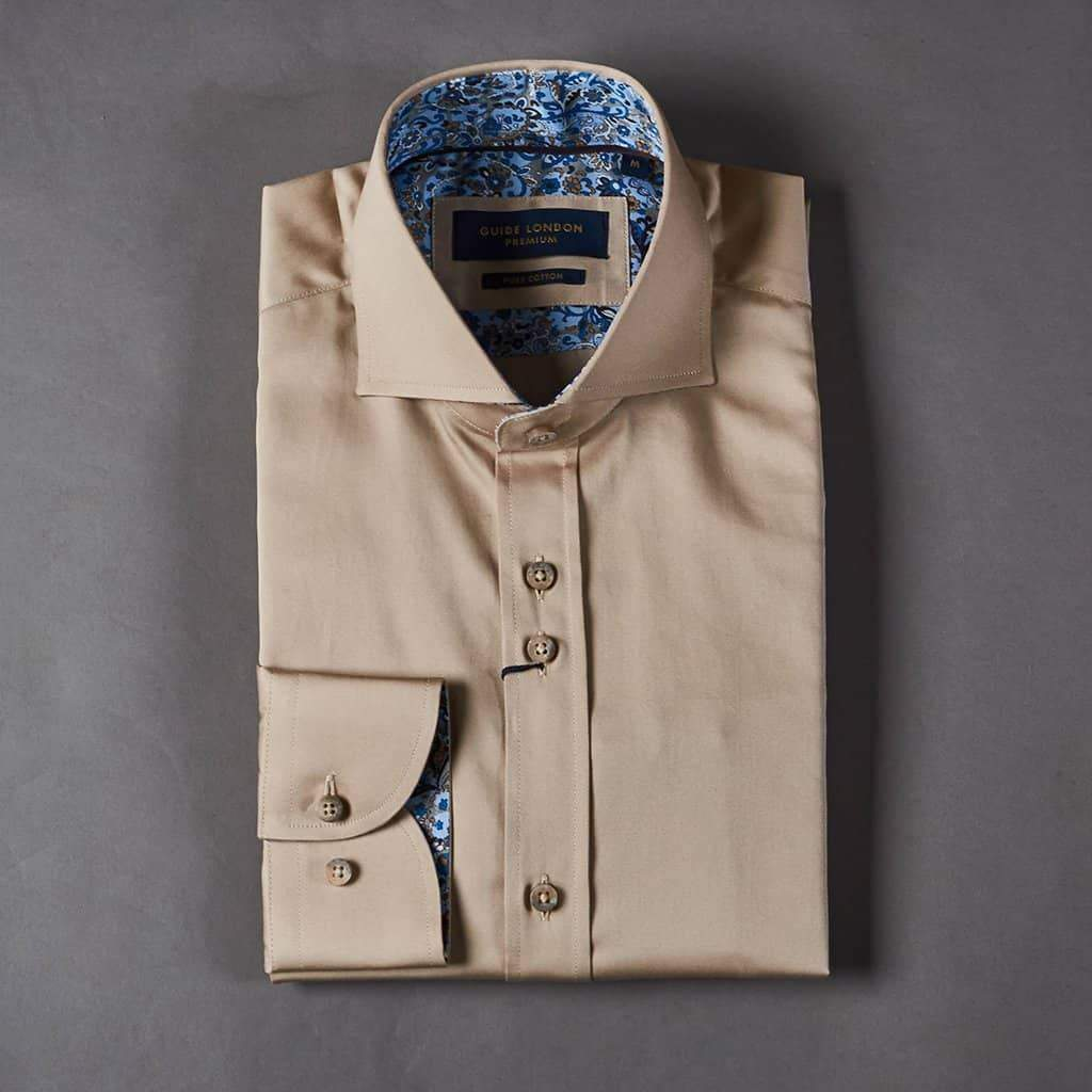 Guide London Beige Shirt with Paisley Inspired Contrast S / Beige