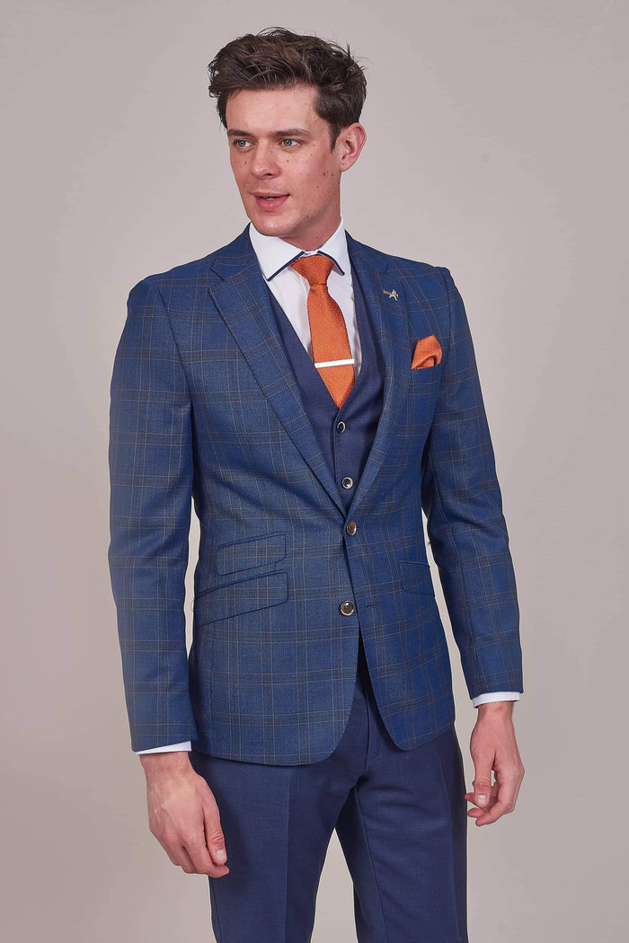 Herbie Frogg Navy Check Wool Blazer