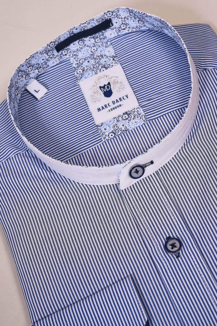 Marc Darcy White & Navy Stripe Grandad Shirt