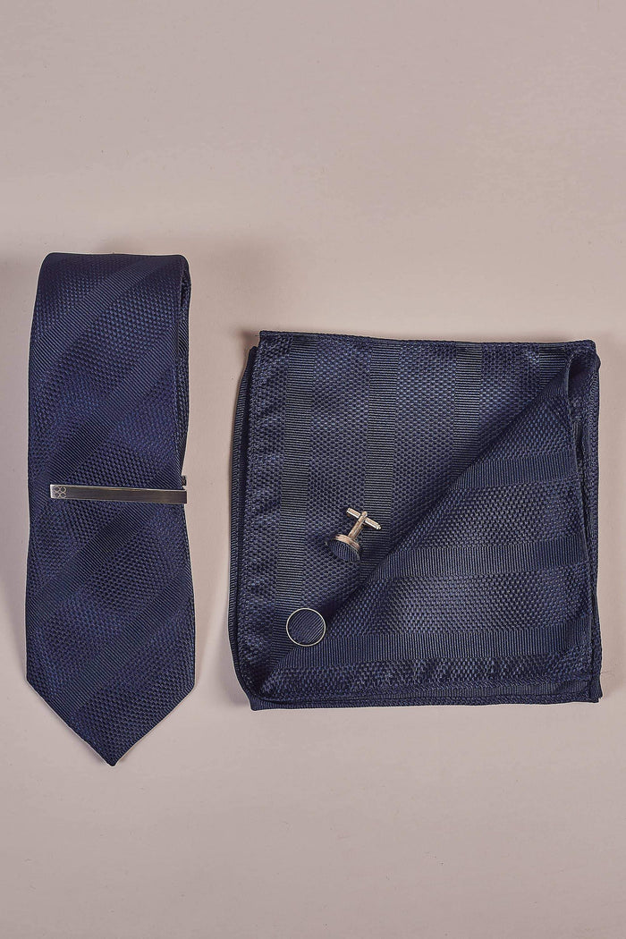 Navy Stripe Tie, Pocket Square, Tie Clip & Cuff link Set Navy