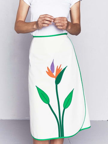 Vintage 1970s Wrap Skirt with Bird of Paradise Appliqué