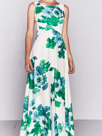 Vintage 1970s Green Floral Garden Party Dress