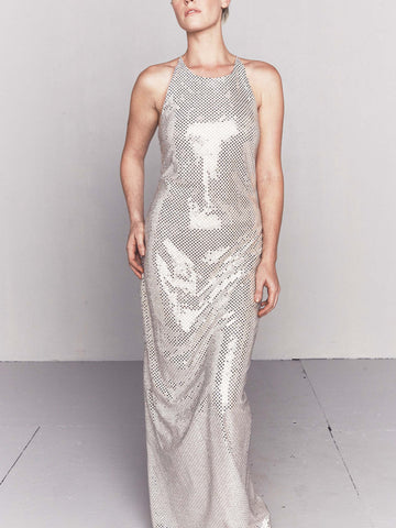 Vintage 1970s Mirror Sequined Bodycon Gown