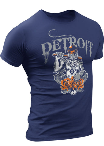 Detroit Gangster Tiger Baseball T-Shirt by DETROIT★REBELS Brand