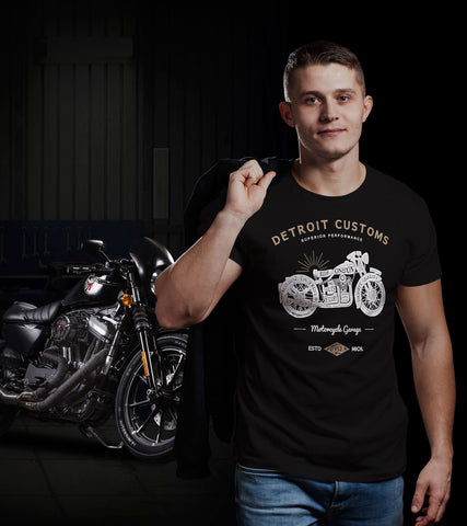 Detroit Customs Motorcycle Bikers T-Shirt by DETROIT★REBELS Brand