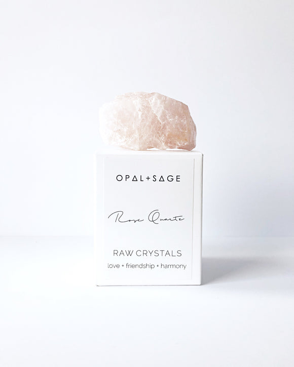Rose Quartz Crystal - Opal and Sage