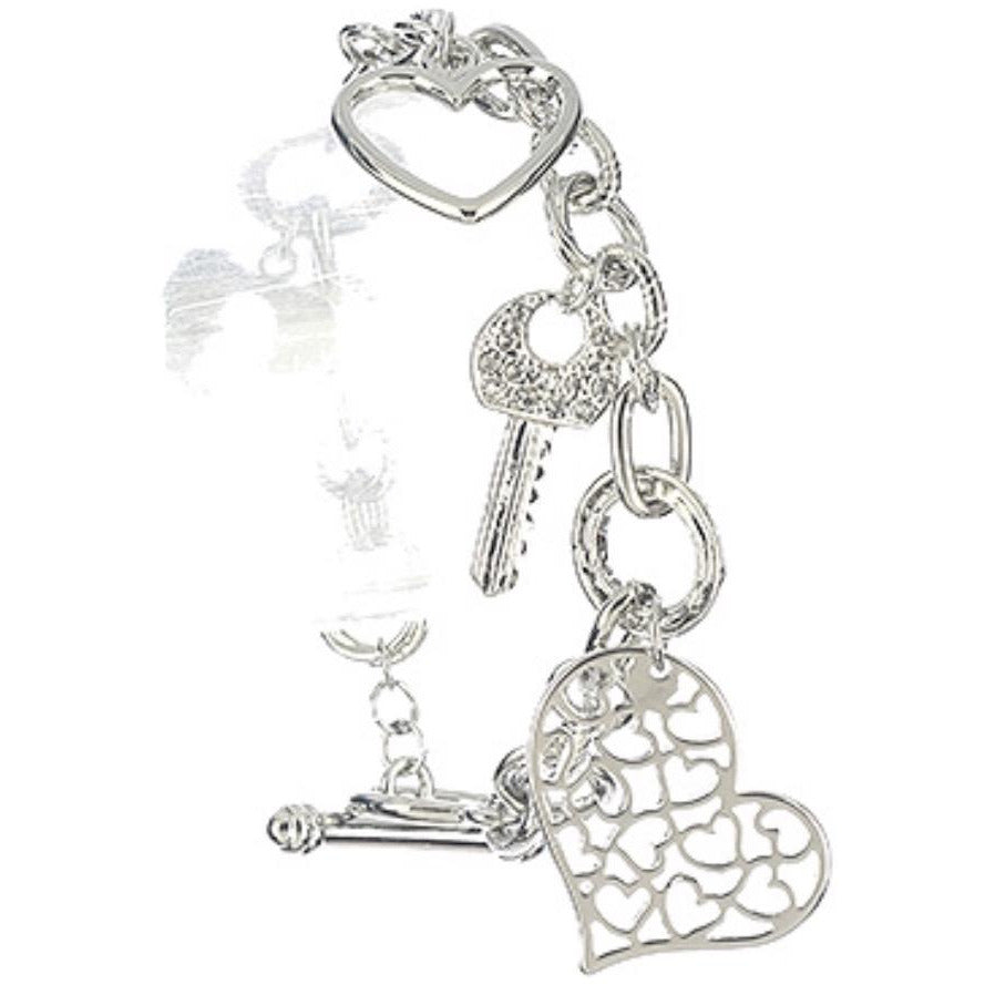 Heart and Key Charm Bracelet