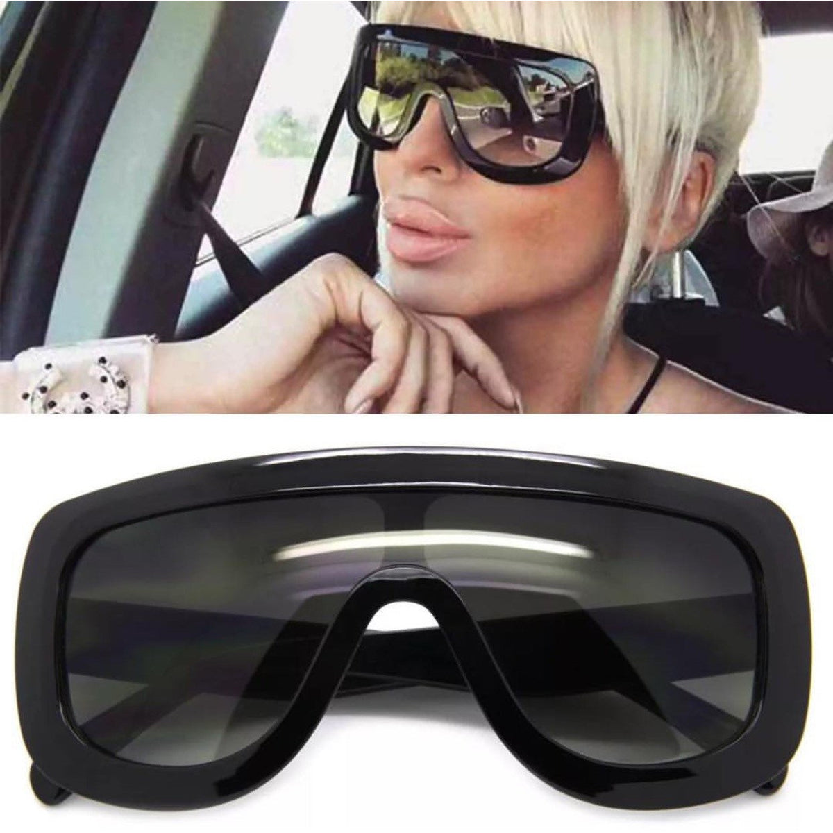 Oversize Flat Top Gradient Sunglasses