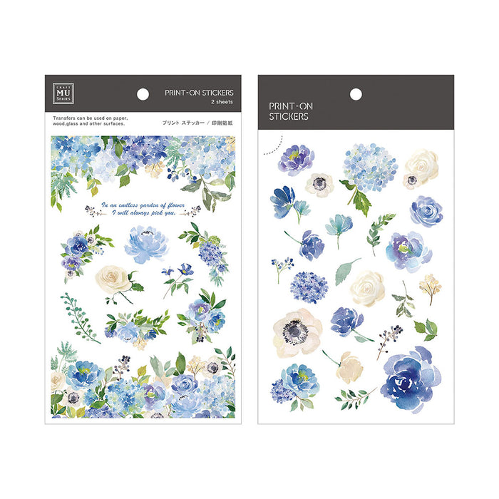 MU Print-on Stickers - Blue Rose