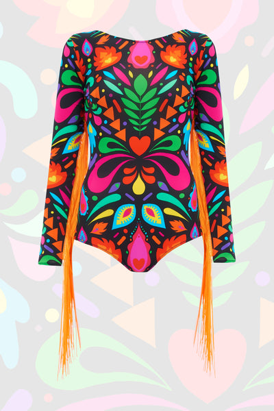 Rainbow Black Festival Fringed Playsuit