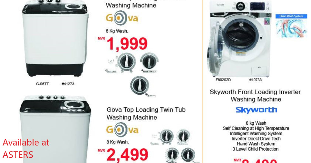 Twin tub, top load, front load washing machines
