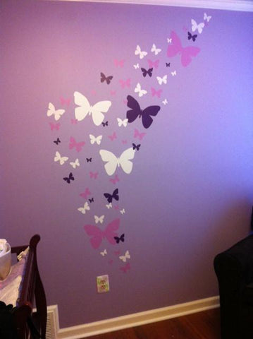 Butterfly Wall Stickers Purple Lilac & White -Girls Wall Decals - Create-A-Mural