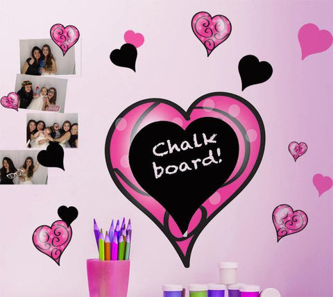 Chalkboard Pink & Black Swirly Heart Wall Stickers - Create-A-Mural