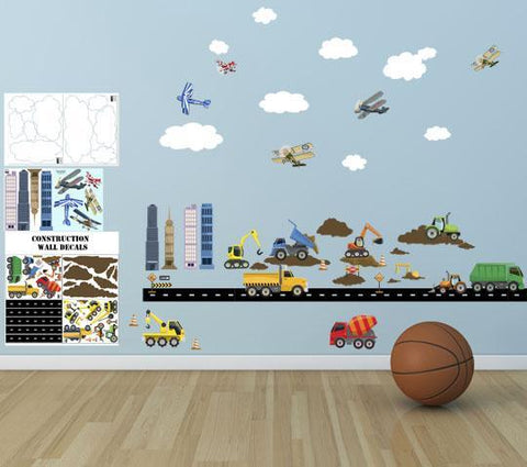 City Construction Truck & Planes Boys Wall Decals - Create-A-Mural