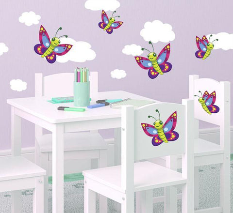 Cute Butterfly & Cloud Wall Decals - Create-A-Mural