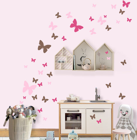 Butterfly Wall Decals for Girls -Hot Pink,Pink,Brown Vinyl Wall Decor Stickers - Create-A-Mural