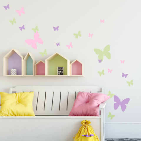 Butterfly Wall Decals- Pink, Lilac & Sage Green Appliques' - Create-A-Mural