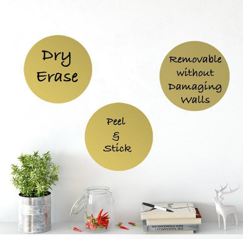 Dry Erase Gold Dot Wall Decals - Create-A-Mural