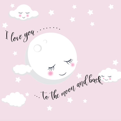 The Moon n Back Vinyl Peel n' Stick Quote Baby Wall Decor with Sleeping Moon Baby Wall Decals, Nursery Wall Art w/Stars, Moon & Quote