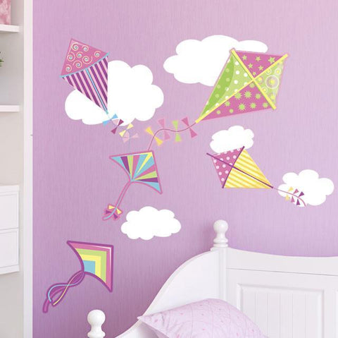 Girls Wall Decor~ Kites & Clouds Wall Decals - Create-A-Mural