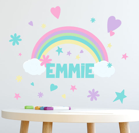 Personalized Name Wall Decal -(136) Piece Girls Rainbow Wall Decor Stickers - Create-A-Mural