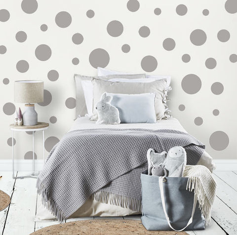 Grey Polka Dot Wall Stickers (63) Wall Dot Decals - Create-A-Mural