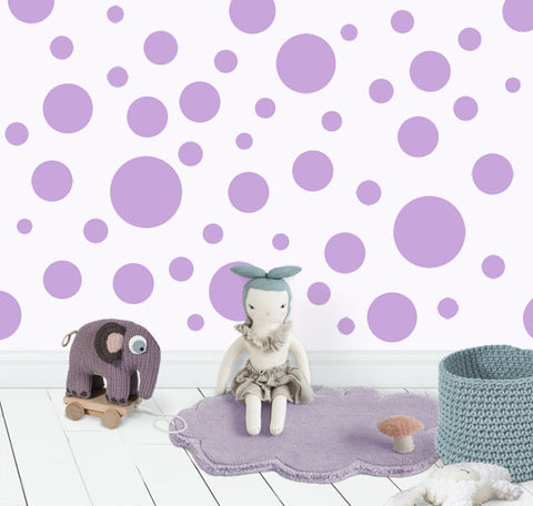 Polka Dot Wall Decals (63) Lilac Wall Dot Decals - Create-A-Mural