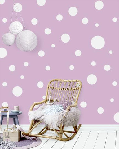 Polka Dot Wall Decals (63) White Wall Dot Decals - Create-A-Mural