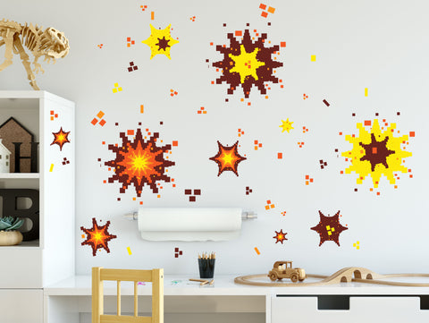 Video Game Explosion Wall Decals, Boys Room Decor, Vinyl Graphic Wall Art, Peel n Stick
