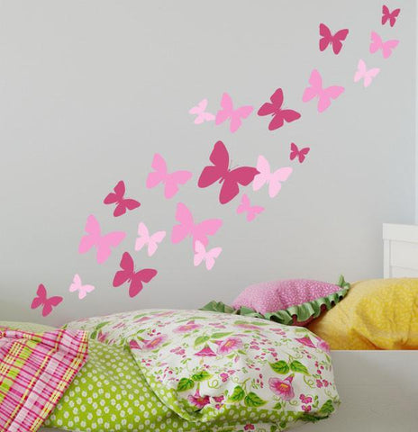 Butterfly Wall Decals 3 Pinks -Girls Wall Stickers - Create-A-Mural