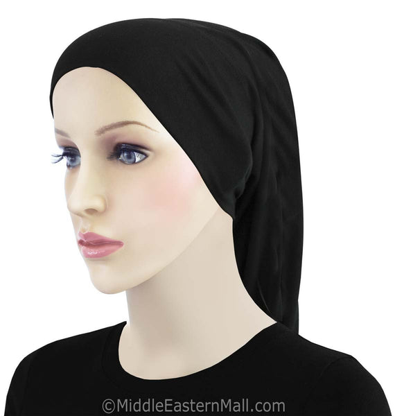 Black Cotton Black Hijab Tube Cap
