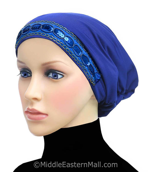 Women's Large Luxor Khatib Lycra Snood Hijab Cap #1 Royal Blue