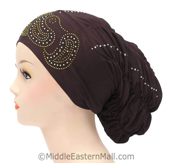 Royal Snood Lycra Hijab Cap Brown Paisley Design