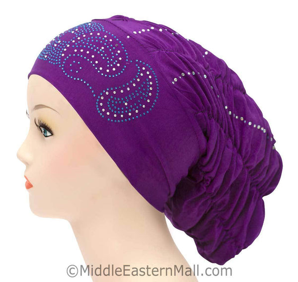 Royal Snood Lycra Hijab Cap Purple Paisley Design