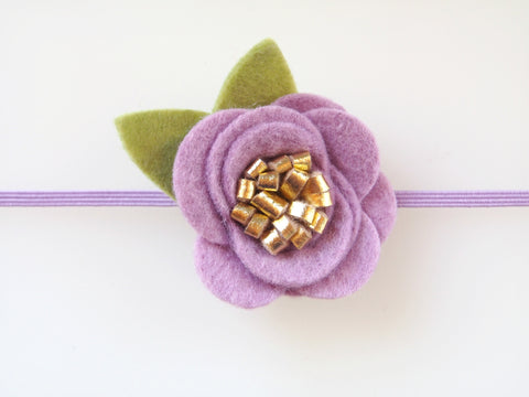 Wool Blend Felt Gilded Single Flower Skinny Elastic Headband (GHBF)