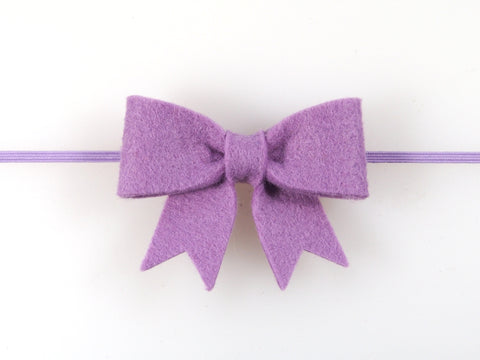 Wool Blend Felt Sailor Bow Skinny Elastic Headband (BSBB)