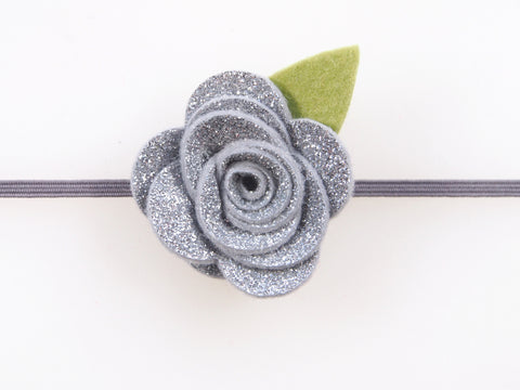 Wool Blend Felt Glitter Single Flower Skinny Elastic Headband (BKBS)
