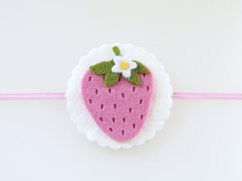 Wool Blend Felt Single Strawberry Skinny Elastic Headband (BHSB)