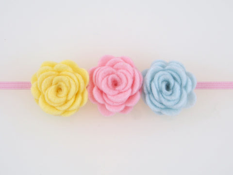 Wool Blend Felt Triple Flower Skinny Elastic Headband (BHBT)