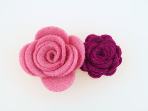 100% Wool Felt Double Flower Hair Clip (WHCF)