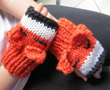 Foxy Mittens Knit Kit - Buttonbag, on model, finished mittens