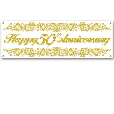 50th Anniversary Sign Banner, Size 5' x 21""