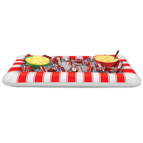"Inflatable Red&White Stripes Buffet Clr, Size 28""W x 4' 5¾""L"