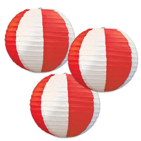 Red & White Stripes Paper Lanterns, Size 9½""