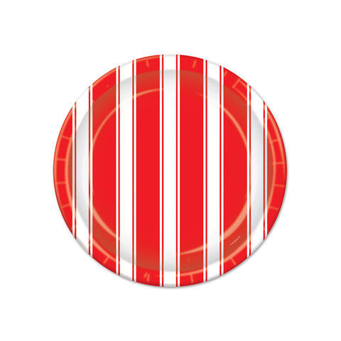 Red & White Stripes Plates, Size 7""