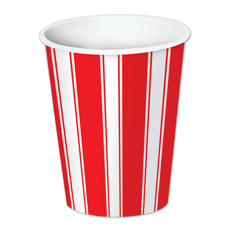 Red & White Stripes Beverage Cups, Size 9 Oz
