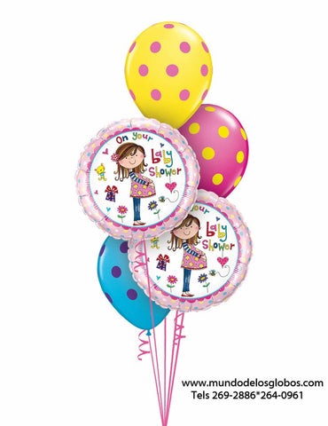 Bouquet de Mama Embarazada On Your Baby Shower con Globos de Colores