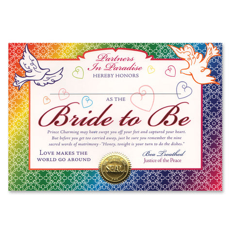 "Bride To Be Certificate, Size 5"" x 7"""