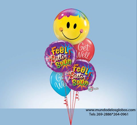 Bouquet Feel Better Soon con Globo de Carita Feliz y Globos de Colores Get Well