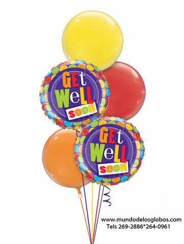 Bouquet de Get Well Soon de Bolas de Colores con Burbujas de Colores